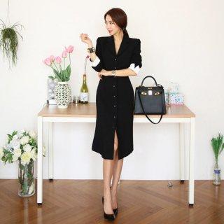 韓国ワンピース❤袖のバイカラーがお洒落でオフィスでも使えそうな大人ワンピース