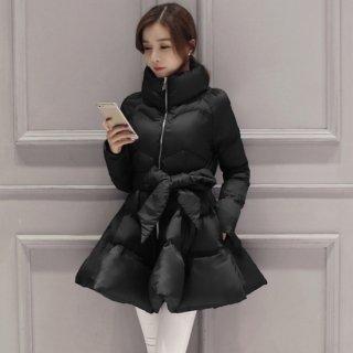 韓国ダウンコート❤アウター ウエストリボンが可愛いワンピース風ダウンコート