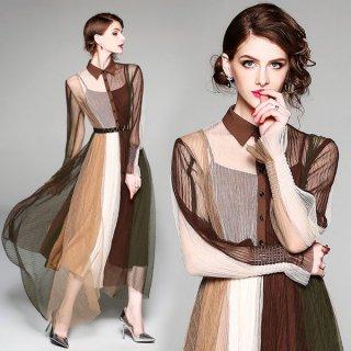 韓国即納ワンピース❤秋色豊かなレトロデザイン韓国ドレス