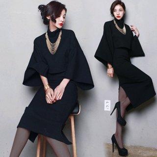 韓国ワンピース❤ネックレスつき秋冬のスーツツーピースセット