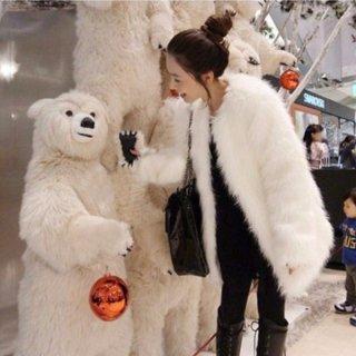 韓国アウター❤ファーコート くまちゃんみたいに可愛いふわふわファーコート