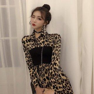 韓国ワンピース❤レオパード柄のウエストが細くなる大人セクシーシャツワンピ