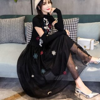 韓国ワンピース❤花柄ロングのニット切り替えワンピースに袖は半袖+袖か長袖選んでくださいね
