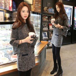 韓国ワンピース❤セットアップ 秋冬に可愛いバイカラーのツーピースセット