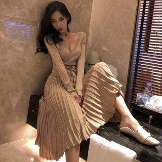 韓国即納有ワンピース❤韓国ドレス キラキラっとラメがきれいな大人カシュクールニットワンピ