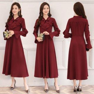 韓国ワンピース❤韓国ドレス フリルが可愛いおしとやかな上品ワンピース