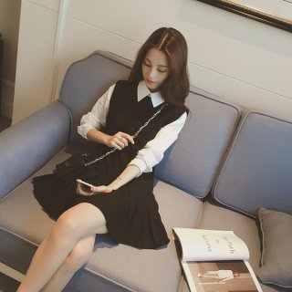 韓国即納ワンピース❤制服のような可愛いフェミニンガーリーワンピ