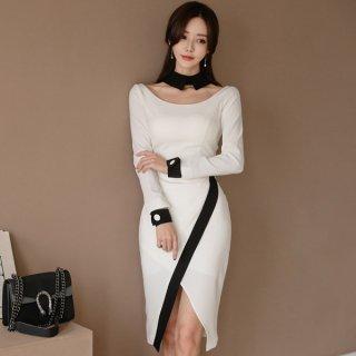 韓国ワンピース❤韓国ドレス バイカラー、襟や袖先がとっても個性的なタイトドレス