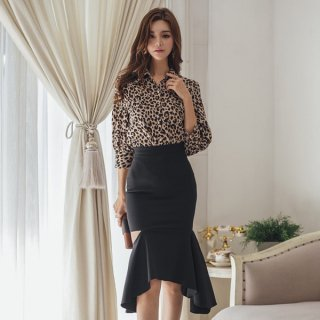 韓国ワンピース❤セットアップ レオパードなトップスとマーメードアシンメトリーなスカートのツーピース