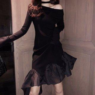 韓国ワンピース❤韓国ドレス アシンメトリードレスワンピ