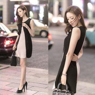 韓国ワンピース❤韓国ドレス フェミニンガーリーなリボン可愛いミニワンピ(かなり薄くてペラペラです)