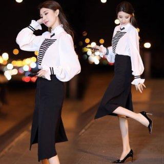 韓国ワンピース❤韓国ドレス バイカラー アシンメトリーで個性的デザインのセットアップツーピース
