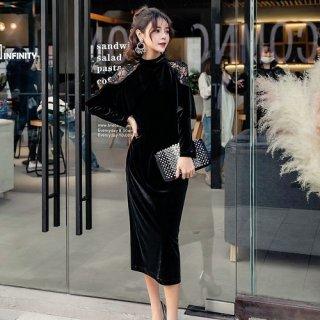 韓国ワンピース❤韓国ドレス 肩のレースとフリルがカッコいい大人色っぽいタイトワンピ