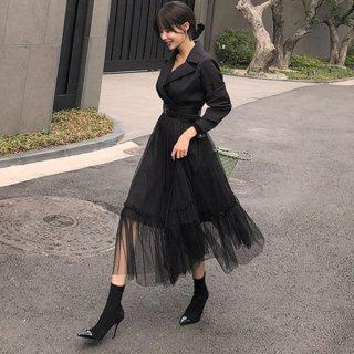 韓国ワンピース❤トップはフォーマルスーツのようで、スカートはチュールスカートと個性的ワンピ