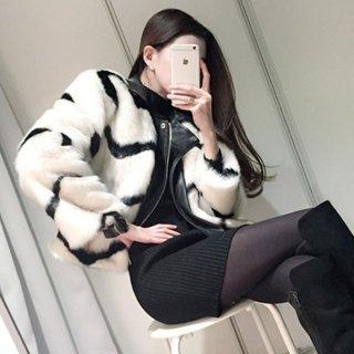 韓国アウター❤ファージャケット 襟付きボーダーでカッコいいファーコート