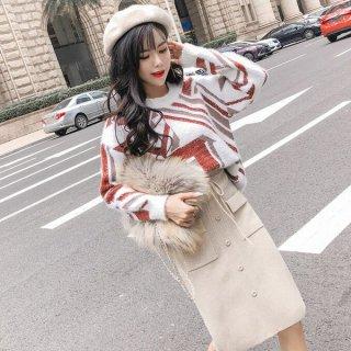 韓国ワンピース❤ガーリー可愛い幾何学模様のトップスとスカートのセットツーピース