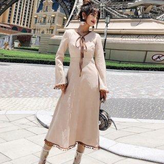 韓国ワンピース❤ボウタイリボンとスカート裾のフリンジがとっても可愛いナチュラルガーリーフレアワンピ