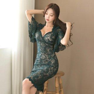 韓国ワンピース❤韓国ドレス 花柄レースのセクシーなグリーンワンピース