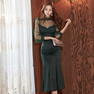 韓国ワンピース❤韓国ドレス ツーピース セットアップ トップスがレースのセクシーなマーメード風ワンピース