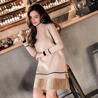 韓国ワンピース❤ニットワンピ きれいめコーデにお似合いの裾プリーツシンプルワンピース