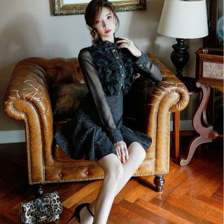 韓国ワンピース❤韓国ドレス レースにリボンがガーリーな大人フェミニンブラックワンピース
