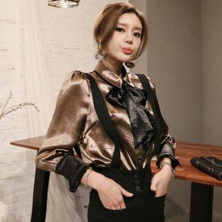 韓国トップス❤目立ちたい日に使えるボウタイリボンのブラウス