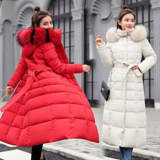 韓国ダウンコート❤アウター ファーボアもこもこの超ロングな防寒ダウンコート