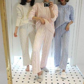 韓国ルームウェア❤パジャマパーティー・双子コーデにケーブルニットパジャマ