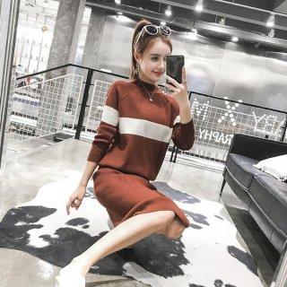 韓国ワンピース❤バイカラーのカジュアルきれいめ大人女子のシンプルワンピ