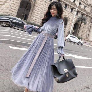 韓国ワンピース❤ベロアの袖コンシャスにシフォンロングスカートの素敵な可愛いワンピース