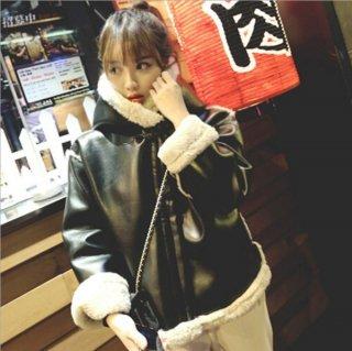 韓国アウター❤レザーコート とっても大人可愛い裏ボアブラックレザーコート