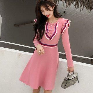 韓国ワンピース❤トリコロールにフリル可愛いピンクとブラックのお嬢様ワンピース