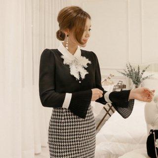 韓国トップス❤クリスマス風のボウタイリボンが素敵!とってもフェミニンガーリー可愛いブラウス