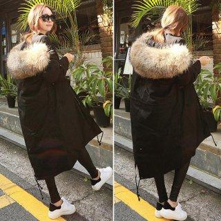 韓国アウター❤ダウンコート フードののモコモコファーがとってもダイナミックで可愛いロングコート