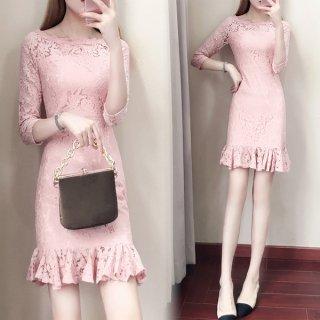 韓国ワンピース❤韓国ドレス フリルが可愛いながらもちょっぴりセクシー花柄レースミニドレス