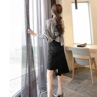 韓国ワンピース❤セットアップ バックコンシャスのブラウスとアシンメトリースカートのツーピース