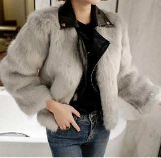 韓国アウター❤ファーコート 韓国ファッション!ファーにレザー混じった大人きれいめファッション