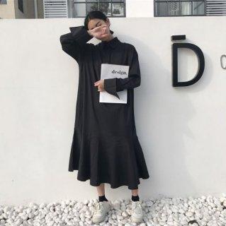 韓国ワンピース❤ナチュラルなデザインだけど裾が広がっていてキュート♪ロングシャツワンピース