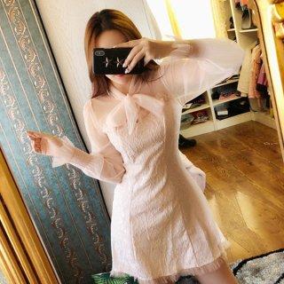 韓国ワンピース❤レースでセクシー、フェミニンガーリーで可愛いミニドレス