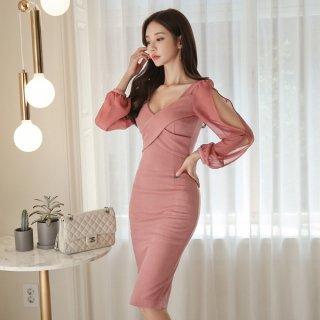 韓国ワンピース❤韓国ドレス 袖コンシャスと胸クロスの大人可愛いタイトドレス