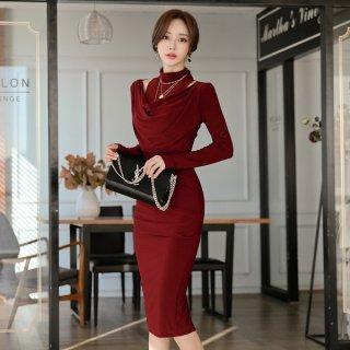 韓国ワンピース❤韓国ドレス チラッと見えるデコルテが、とってもエレガント大人な主役になれるタイトワンピース