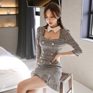 韓国ワンピース❤グレンチェックと襟つきホルターネックが可愛いミニフリルワンピ