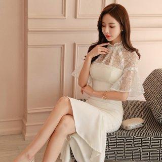韓国ワンピース❤韓国ドレス エレガントな肩レースにフィッシュテールスカートが可愛い清楚なドレスワンピ