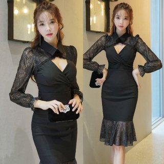 韓国ワンピース❤韓国ドレス 襟元とっても可愛いマーメード風花柄レースのブラックワンピースドレス