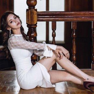 韓国ワンピース❤韓国ドレス 肩のシースルーがエレガントセクシーなホワイトタイトワンピース