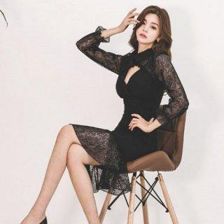 韓国ワンピース❤韓国ドレス 可愛いレースにタイトスカートセクシーなドレスワンピース