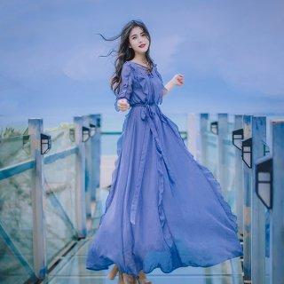 韓国ワンピース❤韓国ドレス フリル可愛い女性らしい清楚なリゾートワンピ