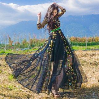 韓国ワンピース❤韓国ドレス 花柄とっても可愛い華やかなドレスリゾートワンピース