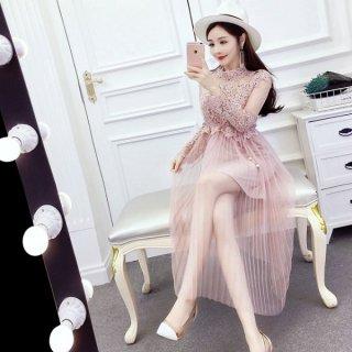 韓国ワンピース❤韓国ドレス 花柄レースにチュールスカートが可愛いツーピースドレスワンピ