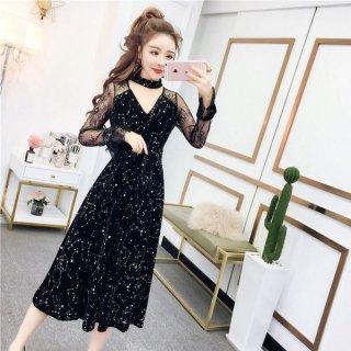 韓国ワンピース❤韓国ドレス 人気の星柄に肩レースでネックが可愛いワンピース